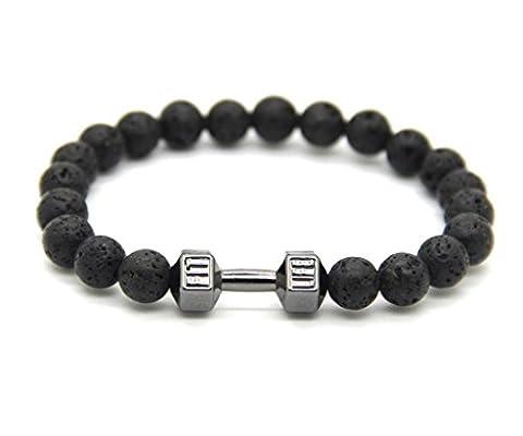 GOOD.designs Fitness Bead Bracelet made of natural black lava stone, dumbbell pendant in black