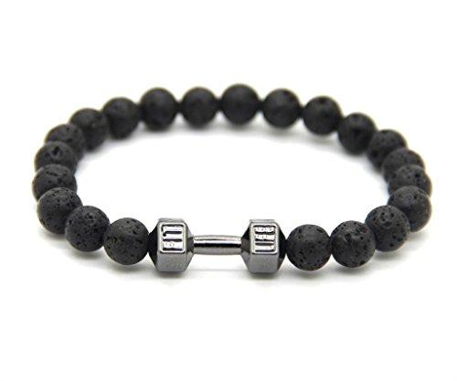 GOOD.designs Hantel Armband aus echten Natursteinperlen, Herren Crossfit Perlenarmband (Lava - Schwarz)