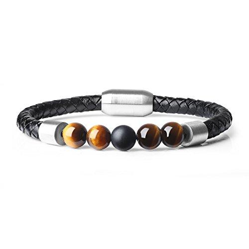 COAI® Bracelet Mode Tressé en Cuir Fermoir en Acier Inoxydable 8mm Œil de tigre Jaune Onyx Noir Mat Cadeau Parfait Homme