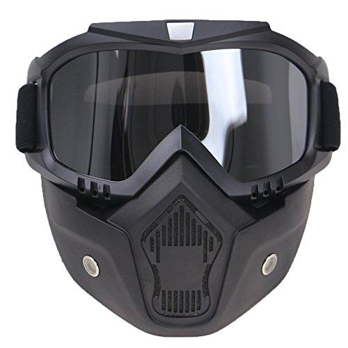 Preisvergleich Produktbild TOOGOO Abnehmbare Harley Stil Motorrad Brille Masken Persoenlichkeit Unisex Windschutz Lokomotive Half-Helm UV Sonnenbrille Schutz Radfahren Racing Reiten Maske (Silber)