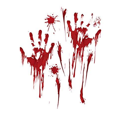 Kentop Halloween Sticker Aufkleber Realistisch Horror Schaurig Blutige Handabdruck Fußabdruck Sticker für Halloween Fasching (Style A)
