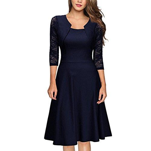 • • LUCKYCAT Räumungsverkauf Damen Kleid mit Spitzenstickerei Vintage Spitze O Neck Drei...