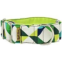 ThePetLover TPL150015 Collar Martingale Geométrico para Perros, S, Multicolor y Verde