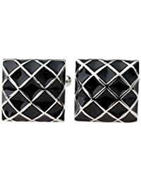 Imported Mens Business Suit Shirt Cufflinks Square Grid Cuff Links Silver Black-13013602MG