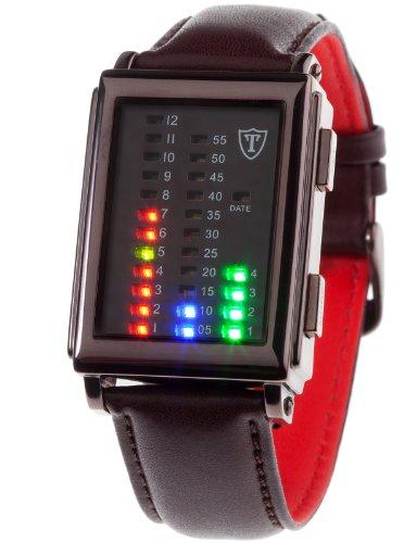DETOMASO SPACY TIMELINE Herren-Armbanduhr mit Binäranzeige Digital Quarz braunes Lederarmband braunes Zifferblatt G-30723C