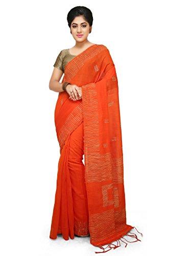 Wooden Tant Orange Box Ghicha Handloom Cotton Silk Saree With Hand Weaved...