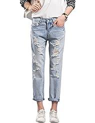 Mena UK- Mujeres salvajes gran tamaño tendencia agujero lavado con agua pantalones casuales hacer los viejos pantalones vaqueros pantalones ( Color : Azul claro , Tamaño : 28 )