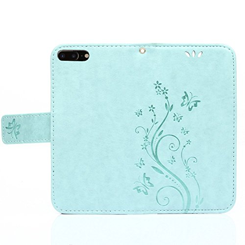 UKDANDANWEI Apple iPhone 7 Plus Hülle ,Muster Flip Wallet Case,Lanyard Strap Leather Stand Handyhülle Portable Lederhülle Anti-Scratch [ID Card Slot] Magnetverschluss Soft Silikon Cover TascheFolio Ha Türkis