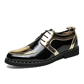Jingkeke Herren Formale Business-Halbschuhe Flache Ferse Schnürschuh im britischen Stil Brautkleid Schuhe auffällig (Color : Gold, Größe : 48 EU)
