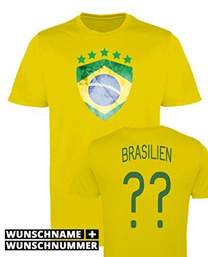Comedy Shirts - Brasilien Trikot - Wappen: Groß - Wunsch - Mädchen Trikot - Gelb/Dunkelgrün Gr. 98-104