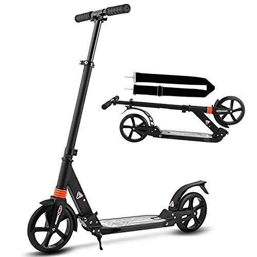 Hikole City Scooter Tretroller Kickscooter Klappbar und Höhenverstellbar mit Big Wheel für Erwachsene und Jungendlichen ab 12 Jahre bis 100kg (Typ1 Schwarz)