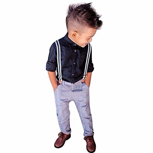 Tiaobug 3PCS Kinder Jungen Gentleman Baby Bekleidungsset Langarmshirt Hemd Hosen Outfit Smoking Anzug Blau 92 (Herstellergröße: 100)