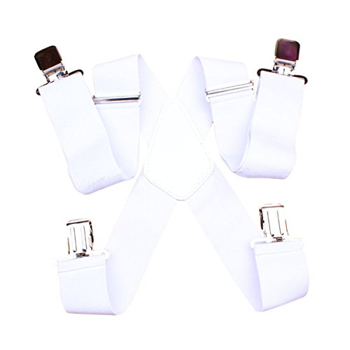 GoGou Vintage Heavy-Duty Klammern Einstellbare 4 Clips breite Hosenträger mit X-Back For Men (White) (White X-back-hosenträger)