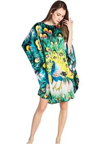 Prettystern - 100% pura seta raso crepe kimono pigiama camicia da notte lingerie lusso - pavone verde