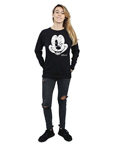 Disney mujer Mickey Mouse Distressed Face Camisa De Entrenamiento