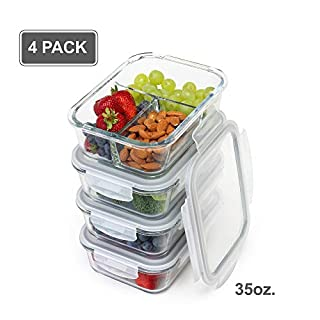 [4-Pack] Glass Meal Prep Containers - Food Storage Containers - 1+2+2+3 Comp - Airtight Leak Proof lids - BPA FREE - Lead Free - FDA Authorized - Dishwasher, Oven, Microwave, Freezer Safe [35 Ounce]