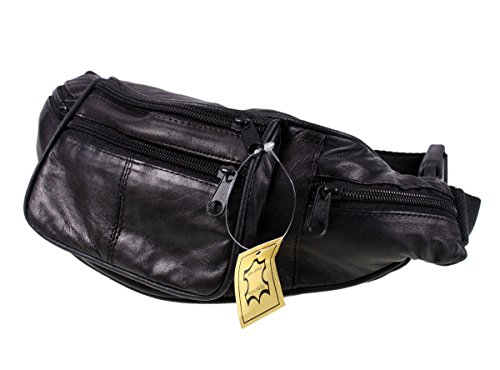 Lorenz Genuino tradicional todo cuero suave riñonera con 6cremalleras, negro (negro) - 1452L