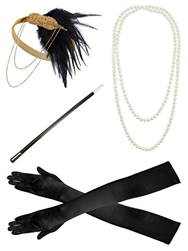 - 41uFaZa8UjL - 1920s Headband Pearl Necklace Gloves Fancy Dress Accessories Flapper Costume Set