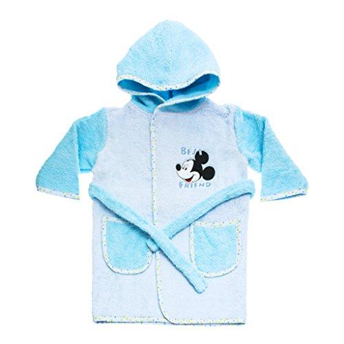 ADEMANTEL Jungen mit Mickey Mouse Motiv, Kapuzen-BADETUCH, Baby-Handtuch mit Taschen in Grösse 86-92, 98-104, 110-116 Baumwolle Frotteer Farbe Hellblau, Größe 98-104 ()