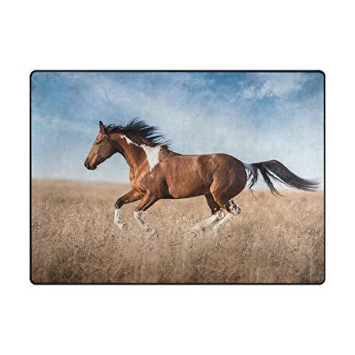 FAJRO Pferde-Fußmatte mit Anthemia-Motiv für Eingangsbereich, Fußmatte, Fußmatte mit Mehreren Mustern, Rutschfest, für drinnen und draußen, Polyester, 1, 80 x 58 inch