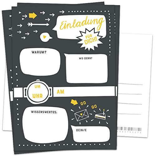 10 Einladungskarten - Einladung für dich! | Schwarz Weiß Gelb | Postkarten Einladungen zum Geburtstag, Party, Einzug, Abschluss, Abschiedsfest u.v.m. | retro Industrial Design mit Adressfeld