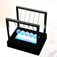 Spritumn Newtons Cradle Balanced Balls with Plastic Base LED Light Up Home Office Toys Home Decor Science Model (Black)