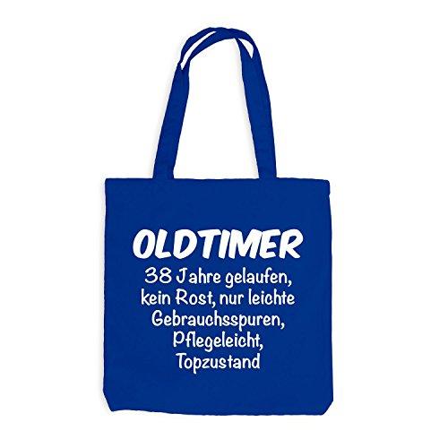 Jutebeutel - Oldtimer Geburtstag 38 Jahre - Birthday 38 Years Fun Geschenkidee Royalblau