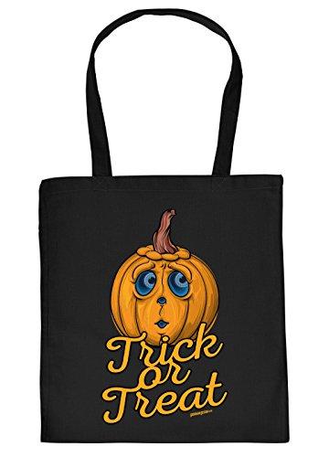 Halloween Tasche - Coole Tragetasche für Süßigkeiten : Trick or Treat - Baumwolltasche Spruch lustiger Kürbis - Farbe: Schwarz