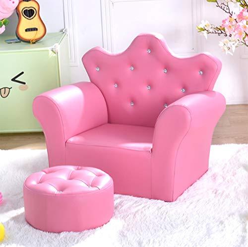 Kinder Sofa Set Kinder Sessel Stuhl PU Leder Sitz Hocker Sitz Diamant Krone Dekorative Sofa,Pink