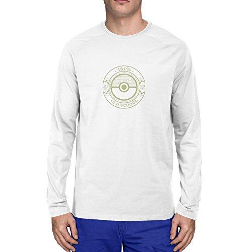 Planet Nerd - Old School - Herren Langarm T-Shirt Weiß