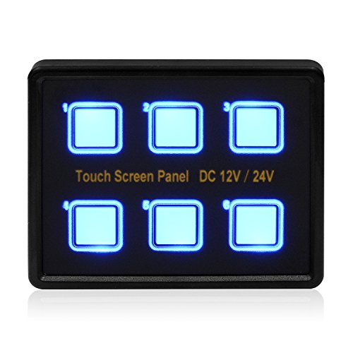 Samoleus 12V/24V 6 Gang Blaue LED Touch Schalter Touch Control Panel VGA Kabel für Auto Marine Boot(Touch Control Panel) (Marine Switch Panel)