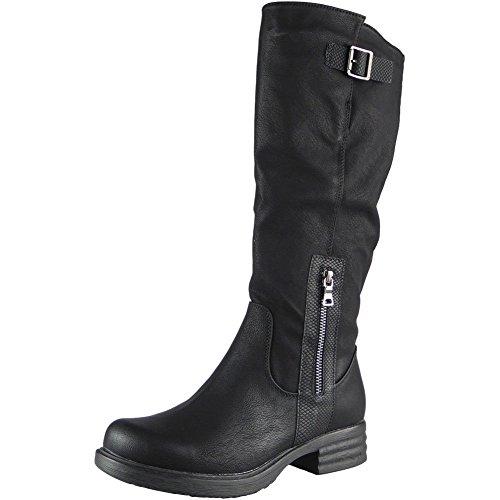 Ladies High Biker Mid Calf Buckle Long Zip Low Heel Boots Size...