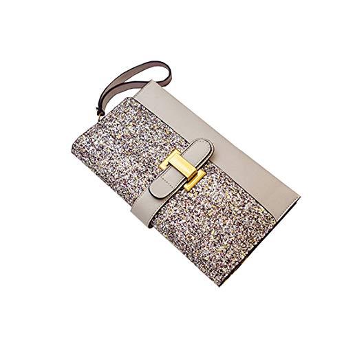 ZY Handtasche Schulter Umhängetasche Persönlichkeit Mode vielseitige Kupplung,Grey-OneSize