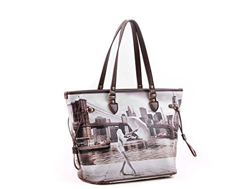 BORSA DONNA SHOPPING A SPALLA YOU BAG STAMPA NEW YORK BROOKLYN NUOVA ORIGINALE CON ETICHETTE