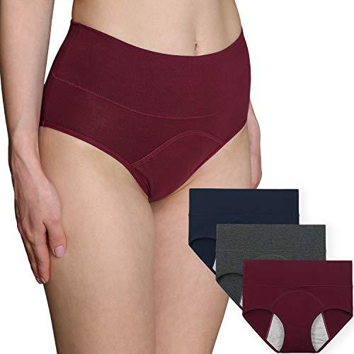 INNERSY Damen Unterwäsche Postpartale Monatsblutung Einfache Auslaufsichere Schützende Höschen Aus Bio-Baumwolle 3 Stücke (Muss mit Tampons verwenden) (XL-EU 44, Color 2)