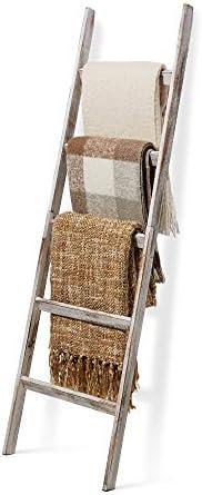 Short Birds Rustic 5ft Blanket Ladder - Farmhouse Home Decor - Quilt/Towels/Throw Wood - Decorative Shelf - Ea