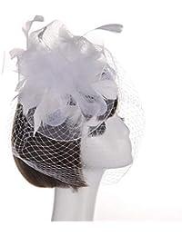 Nvfshreu Gorros Sombrero De De Boda Cóctel Sombrero Boda Elegante Pluma  Estilo Simple Flores Sombrero Boda Accesorios para El Cabello… 4efe721c0af
