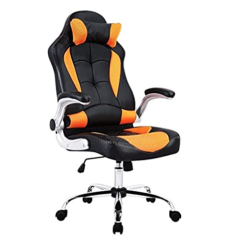 eMarkooz (TM) Swivel desk chair executive office chair racing gaming chair padded Computer PC chairs adjustable height armchair (Orange Black Heavy