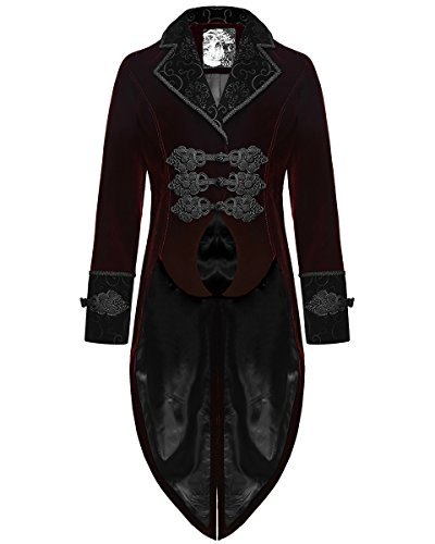 Punk Rave Giacca Frac Rosso Velluto Gotico Steampunk Aristocrat Regency Red Large