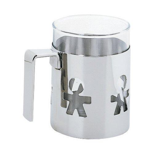 Alessi GIROTONDO Mug aus Edelstahl und hitzebeständigem Glas