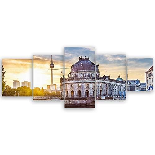 ge Bildet® hochwertiges Leinwandbild XXL Stadtbilder - Guten Morgen Berlin - Stadtbild Städtebild - 200 x 80 cm mehrteilig (5 teilig) 2209 E