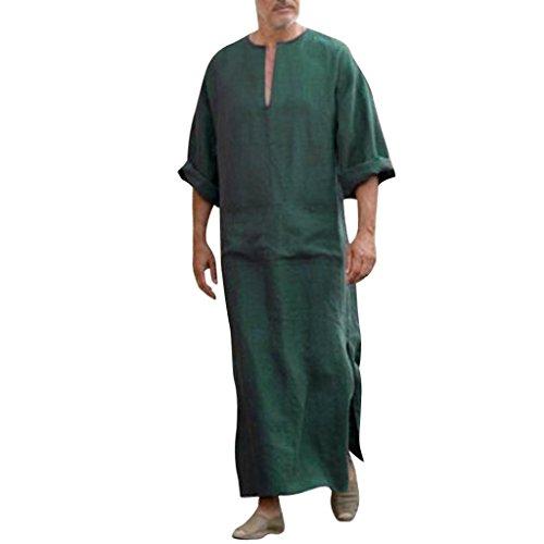 Robe pour Homme, Malloom Ethnic Robes - Caftan Vintage Loose à Manches Longues et lâche