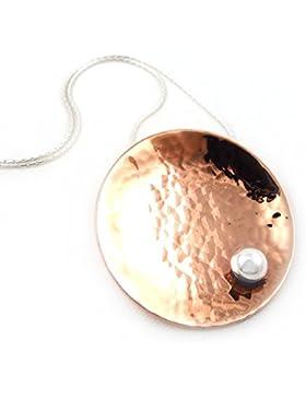 Große, gehämmertes Kupfer und 925 Silber Halskette 45 cm/44.96 cm