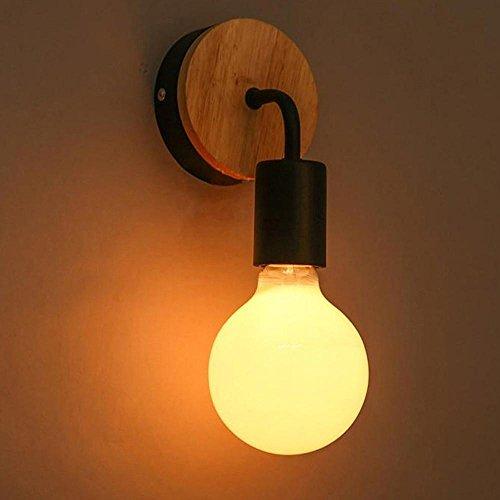 Marokkanische Schlafzimmer Dekor (Vi-xixi LED E27 Vintage Warmweiß Wandleuchte Häuslich Holz und Metall Wandbeleuchtung von Minimalismus Wandlampe für Schlafzimmer Korridor Treppenhaus Restaurant .(Schwarz))