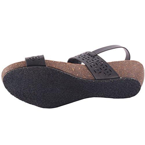 Unze New Women 'Mars' Laser Cut Sandales Wedge Summer Beach School Carnaval Casual Chaussons Pantoufles Taille UK 3-8 Noir
