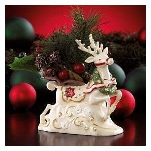 Lenox Petals and Pearls Reindeer with Wreath Vase New in Box by Lenox Lenox Pearl