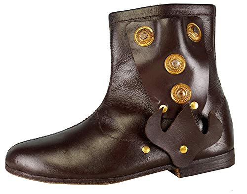 Epopée médiévale Mittelalterliche Schuhe Braune Farbe Renaissance Cosplay Cowboy Halloween Men Shoes