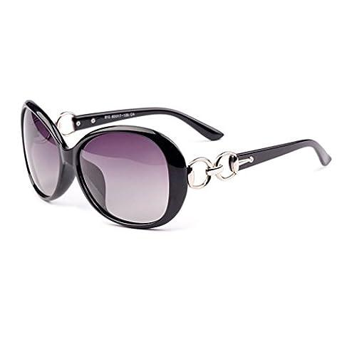Hmilydyk pour femme rétro surdimensionné Lunettes de soleil polarisées Résine Miroir rond Premium Cadre Eyewear UV400avec étui, Black Frame Red Lens