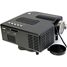 Mini LCD proyector, xjp UC28Multimedia HD 1080p Portable Home LED Projector Support for VGA HDMI USB SD Black