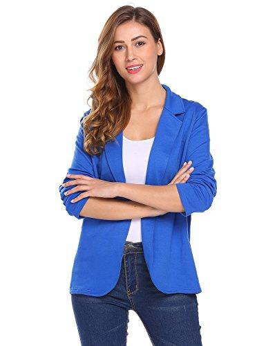 Parabler Damen Blazer Tailliert Elegant Business Jacke Anzugjacke Jersey Jäckchen Blau
